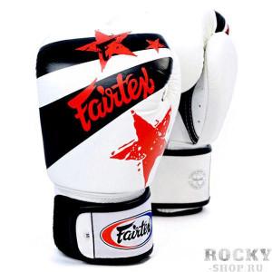 Боксерские перчатки Fairtex Nation Print, белые, 14 oz Fairtex